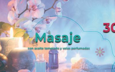 Masaje con aceite templado y velas perfumadas